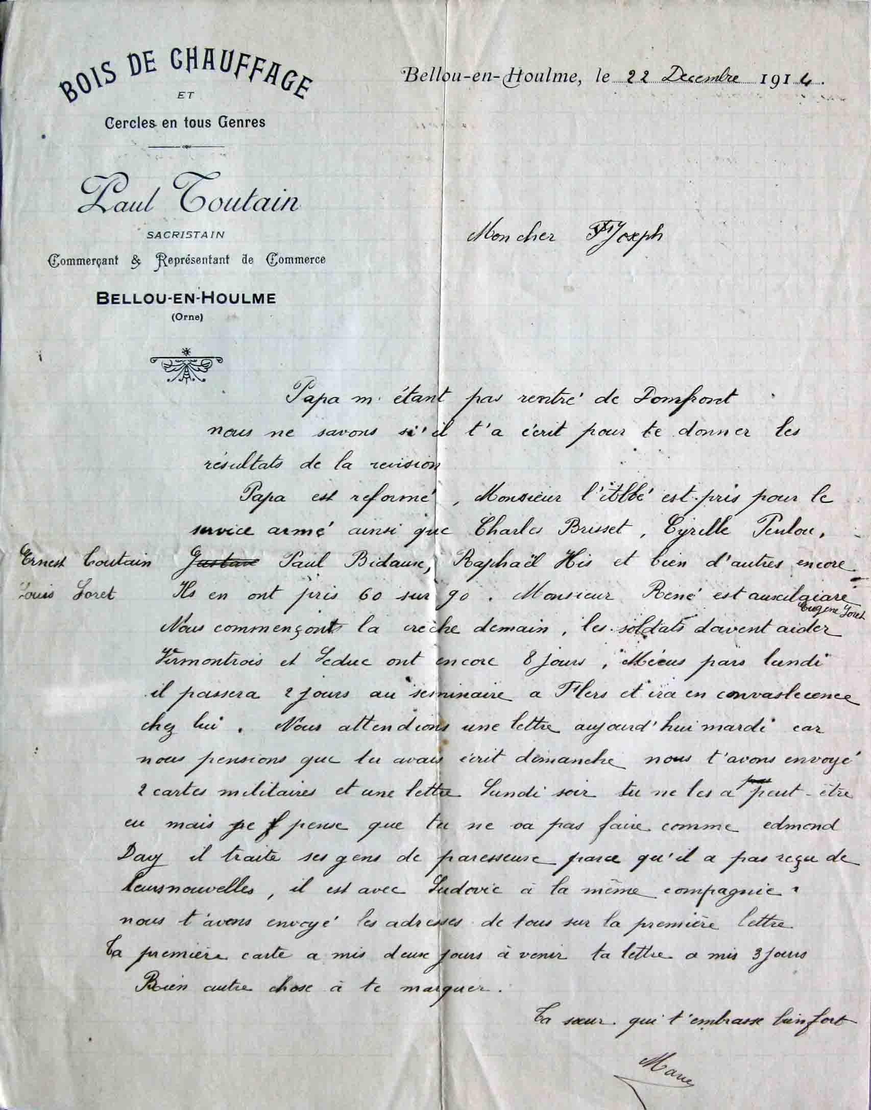 Favori Lettre de Bellou du 22 décembre 1914 IS49
