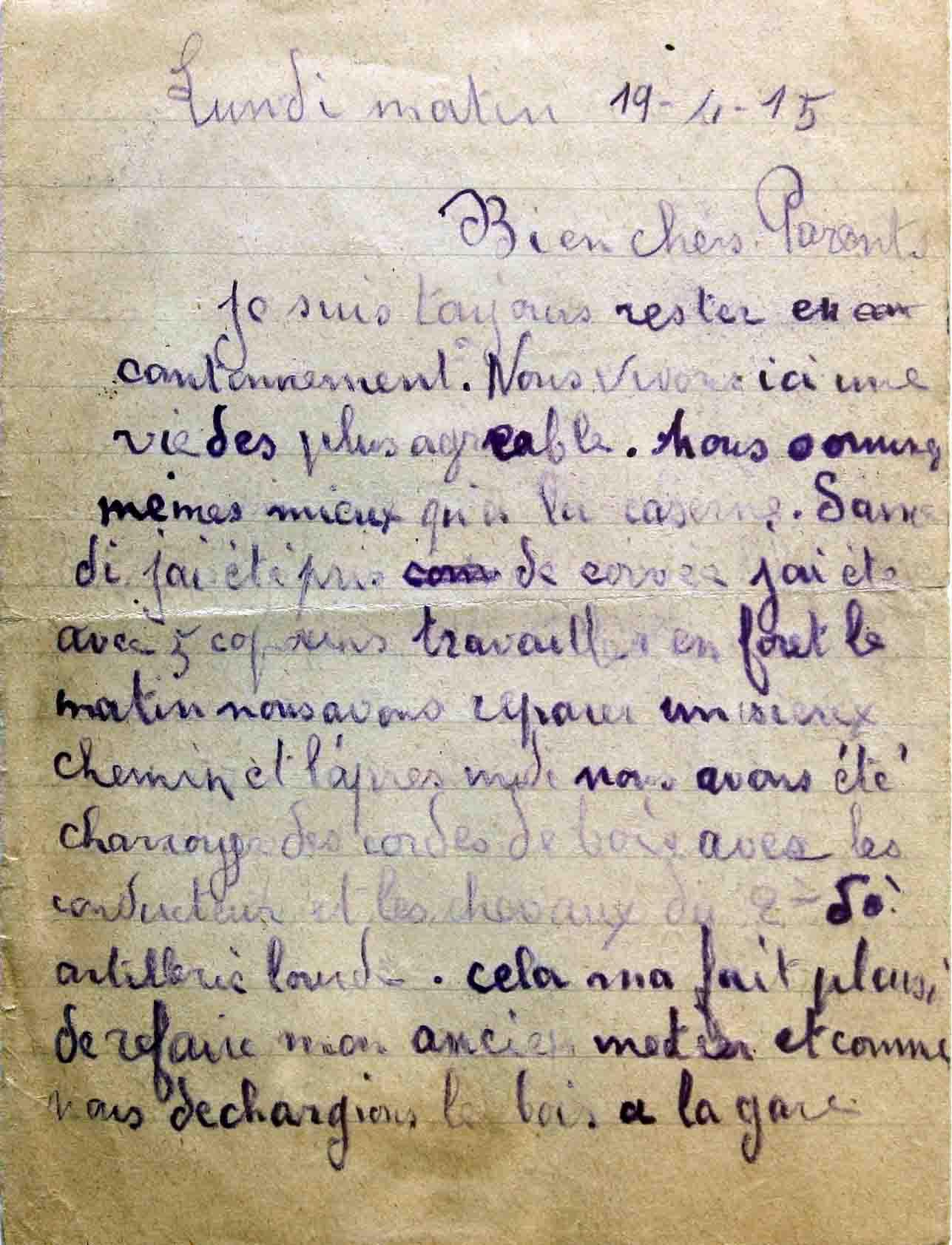 Extrêmement Lettre du front d'Agonne 19 avril 1915 RE98